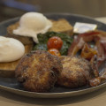 Kailis Breakfast with Poached Eggs on Rye with Potato Rosti