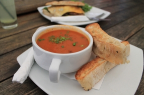 Roasted capsicum and chorizo soup