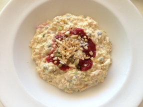 Bircher muesli with rhubarb compote