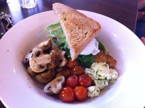 Fez poached eggs with grilled cherry tomatoes, avocado, spinach, herb fetta and mushrooms