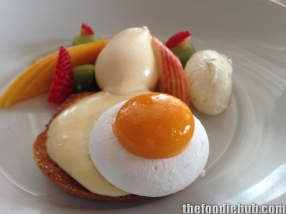 Fried egg on toast meringue mango toasted brioche custard cream fresh fruit