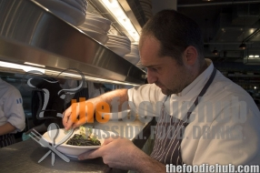 Head chef Lorenzo Schiaffini providing the finishing touches