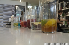 Coktails lined up ready