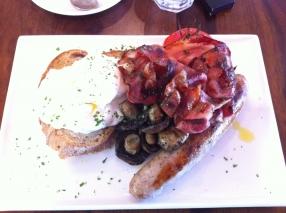 Full breakfast on olive ciabatta