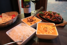 Main dishes with steamed rice and wine