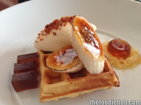 Waffle with maple syrup caramelised banana bacon egg ice-cream