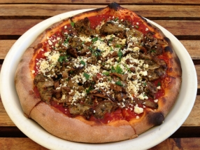 Harissa spiced lamb melanzane feta woodfired pizza