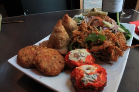 Bharwaen Guccifore (ground right), Onion bhajis (mid ground right)