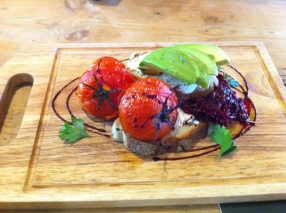 Red cabbage balsamic avocado roasted tomatoes with ricotta cheese