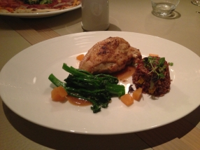 Chicken breast with red rice capsicum flan sauteed broccolini citrus jelly