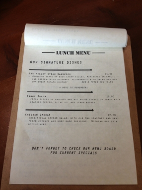 Lunch menu signature dishes