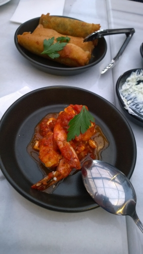 Prawns Saganaki with Feta Tomato Braise