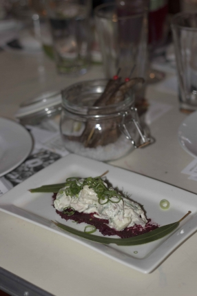 Eucalyptus Kangaroo with potato salad and beetroot