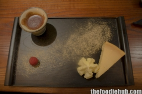 Yuzi cheesecake with wasabi cream chocolate drink and mountain peach