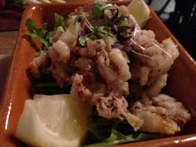 Salt pepper calamari close up