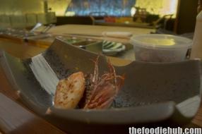 Scallop with prawn including crispy head